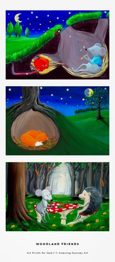 ART PRINTS - colorful art for kids room. Perfect for woodland theme nursery or woodland theme classroom. You will find here a little fox illustration-like art, mouse and hedgehog poster, sleeping white bunny, and many more cute forest animals illustrations. Art prints for sale are available on Zazzle. | HOME: http://www.amazingjourneyart.com | #amazingjourneyart