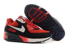 Chaussure de sport Nike Air Max 90 HYP PRM Homme élevée à l'intérieur Rouge Noir Blanc 4JAwiK 1