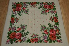 Vintage floral wool shawl wool head scarf by Lilivintagebox