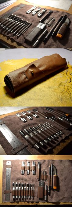 This sewn leather tool roll can be made to the exact specifications of your tool set. Great gift for a sculptor or craftsperson.