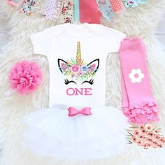 Newborn Baby Girl Unicorn Romper Set