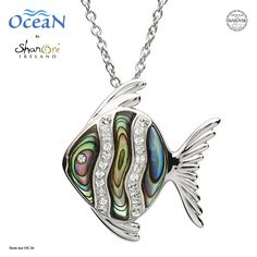 Silver Abalone Fish Pendant Adorned With White Swarovski Crystal by Shanore Ocean Jewelry, Nautical Jewelry, Swarovski Jewelry, Swarovski Crystals, Shell Necklaces, Jewelry Stores, Jewelry Collection, Jewelry Design, Pendant Necklace