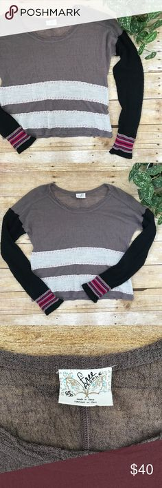 Free People Knit Long Sleeve Top Beautiful sheer top! Excellent preowned condition. Free People Tops Tees - Long Sleeve