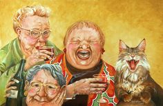 """Miriam's Tea Party, Artist Shelly Wilkerson.  Love these old Dames.    p.s.  I really should pin this to a board titled """"NOT tea""""."""