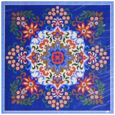 "Candamar Designs Needlepoint - Blue Kaleidoscope Pillow / Picture 14"" x 14"" 2006 in Crafts, Needlecrafts & Yarn, Needlepoint & Plastic Canvas 