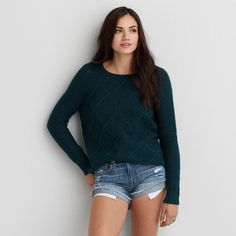 AEO Prescott Sweater featuring polyvore, fashion, clothing, tops, sweaters, green, american eagle outfitters, blue sweater, green top, blue green sweater and green sweater