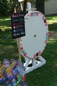 """The """"Wheel of Fortune"""" spinning wheel game."""