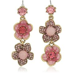 "Betsey Johnson ""Memoirs of Betsey"" Pave Flower Double Mismatch Drop... ($40) ❤ liked on Polyvore featuring jewelry, earrings, flower jewellery, blossom jewelry, pave earrings, betsey johnson jewellery and betsey johnson earrings"