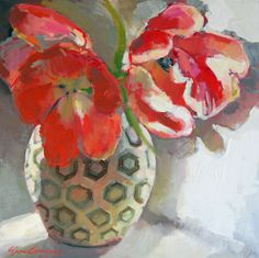 Tulips in black and white vase. Painting by Erin Fitzhugh Gregory.