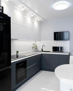 Modern Kitchen Interiors, Luxury Kitchen Design, Kitchen Room Design, Kitchen Cabinet Design, Home Decor Kitchen, Interior Design Kitchen, Home Kitchens, Kitchen Cabinets, Upper Cabinets