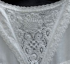 Ayrshire embroidered christening dress, 1840s / detail