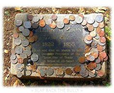 Coins around a veterans grave. Each denomination has a meaning. A penny means you visited the grave. The change is collected by the Cemetary and used for other military burials and care if the graves.