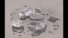3D pencil drawing of Melting Ice Cubes
