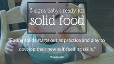 Learn to spot the five main biological signs that your baby is getting ready for the next step in feeding and start eating solid food. Toddler Recipes, Toddler Meals, 6 Month Olds, Baby Led Weaning, Self, Signs, Learning, Blog, Shop Signs