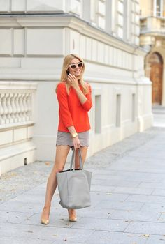 Katarzyna Tusk is wearing shorts from ASOS, blouse from Penny Black, shoes from Prima Fashion and the bag is from Zara