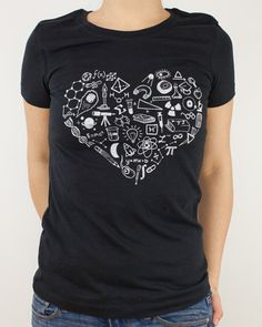 Science is Love T-Shirt | Science Tee Shirt, Scientist Math Physics Pi Chemistry Geometry DNA Heart Student Gifts for Her, Gifts for men