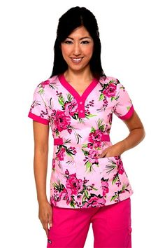 176PR-BRF Koi Kourtney Scrub Top Bright side Flamingo  Summer 2013