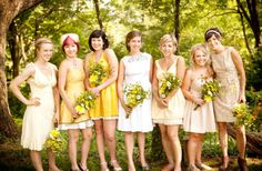 Mismatched maids in yellow