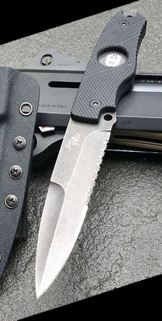Hoffner Knives Hand Spear Fixed Blade Knife with Stonewash Finish 440C Stainless Steel Spear Point Partially Serrated