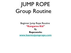 Beginning Jump Rope routines for kids