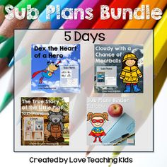 5 days of Emergency Sub plans using fun picture books. There are over 34 activities that include language arts, math, and social studies/science. There is also an editable sub binder.