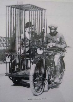 Harley Davidson mobile booking cage 1920s.