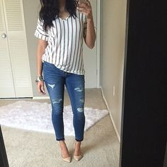 Striped v neck casual top *Please allow me to create you a listing* New without tags. This is a go to casual top. So soft and can be dressed up or down with a change of shoes. Cuffed sleeves. Easily fits a small and medium. Tops Tees - Short Sleeve