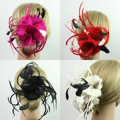 Feather Flower Headwear Hair Clip Headpiece Hair Accessories Fascinator Jewelry #Unbranded #Feathers #Party