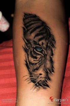 Here is the skin Tear #Tiger Tattoo..!!  Original Concept belongs to Great Realism Master Tattooist Mr. #Eric from #IronBuzz #Mumbai, This is just a try to give proper respect to the original one..!! Thanks for looking guys. Hope you like it..!!