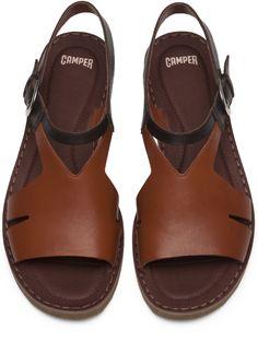 Camper PimPom Brown Sandals Women K200379-002 Flat Sandals e954e7ed2