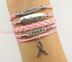 Love,faith,believe and Breast Cancer Awareness Charm Bracelet in Silver - Breast Cancer Awareness Ribbon - Best Chosen Gift-Friendship on Etsy, £4.44