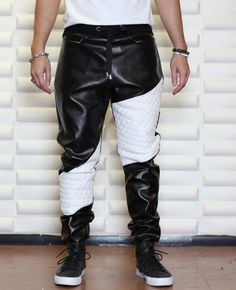 http://www.quickapparels.com/black-faux-leather-with-white-quilted-fabric-mens-drop-crotch.html