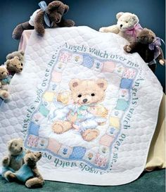 Dimensions Stamped #crossstitch  HUGS 'N KISSES #quilt #baby #DIY #needlecraft #giftideas