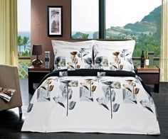Silky-Soft Hanna Bed in a Bag Set- Duvet Set-Sheets & White Comforter