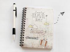 """DIN A6 - Reisetagebuch """"let´s explore the world"""" - ein Designerstück von HerrPfeffer bei DaWanda"""