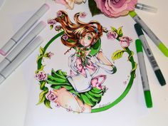 """lighane: """"  I really fell in love with the tattoo styled drawings I did last week so why not create some more? :-) Strength, flowers and cooking powers - Sailor Jupiter combines it all! xD Can't wait to draw some more Sailor Senshi"""