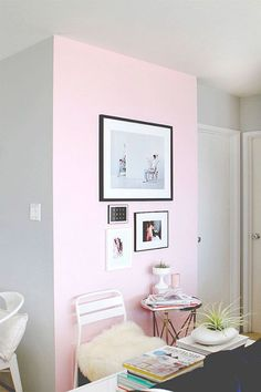 Subtle pink accent wall in a home office