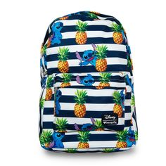 Loungefly x Stitch Stripes & Pineapples Print Backpack  - Disney - Brands