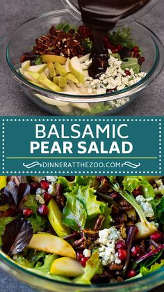 Pear salad with pomegranate blue cheese and candied pecans in a homemade dressing. Low Carb Recipes, Vegetarian Recipes, Cooking Recipes, Healthy Recipes, Vitamix Recipes, Blender Recipes, Healthy Salads, Healthy Smoothies, Soup And Salad