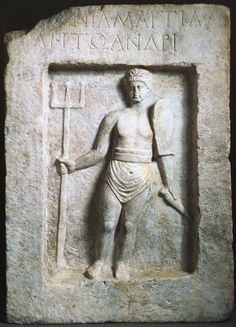 Retiarius. Relief of a Gladiator from Smyrna (marble). Roman / Ashmolean Museum, University of Oxford, UK / The Bridgeman Art Library