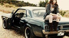 Girl Sitting on Ford Mustang 1967 Wallpaper