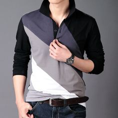 Men's Polo Shirt with Diagonal Lines