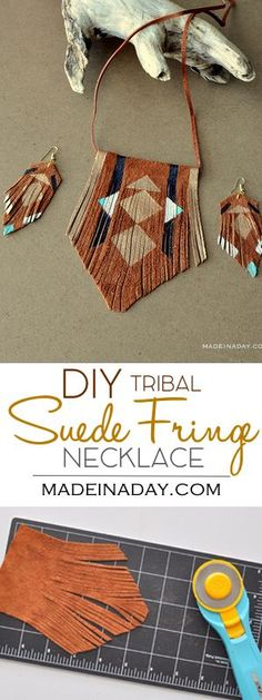 DIY Bohemian Suede Fringe Necklace, I whipped up this simple suede necklace this weekend. Let me show you how to make your own! leather jewelry, bohemian necklace, boho necklace, painted leather, tribal necklace, Geometric painted leather jewelry: