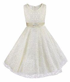 iiniim Kids Girls Floral Lace Pageant Party Wedding Ball Gowns Flower Girl  Dress Ivory 10 Best Halloween Costumes   Dresses USA 13652ca8a82b