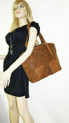 Caramel Leather Tote Bag Handbag Shoulder by chicleather on Etsy