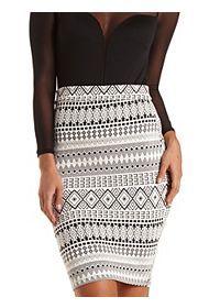 Textured Tribal Print Midi Skirt