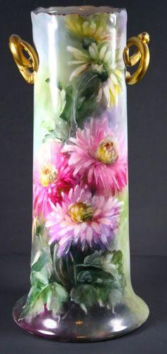 """13.5"""" Hand Painted  Floral Design Porcelain Vase artist signed"""