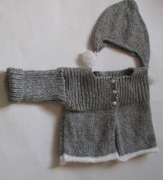 7c42c351d08d Vest and hat gray and white cashmere and Merino 3 months baby. Petits Gilets  ...