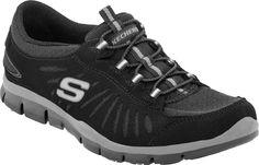 Skechers in Motion 22169 women's slip-on sneakers. (Black)