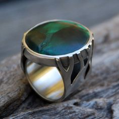 Branching Ways  malachite and sterling silver ring by spiralstone